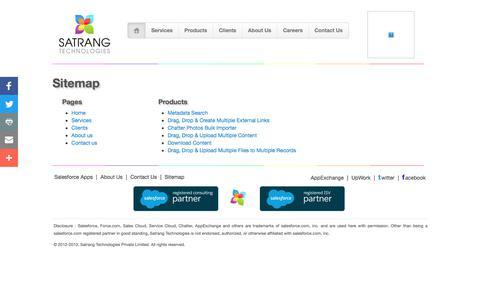 Screenshot of Site Map Page satrangtech.com - Satrang Technologies - Salesforce Services - captured Sept. 29, 2017