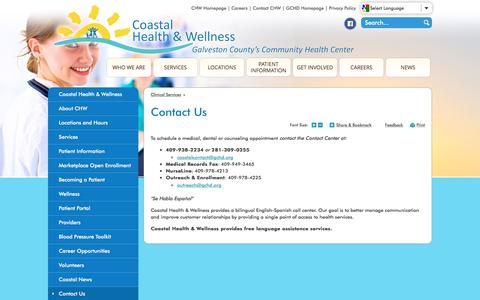 Screenshot of Contact Page gchd.org - Galveston County Health District : Contact Us - captured Jan. 30, 2017