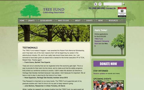 Screenshot of Testimonials Page treefund.org - Testimonials |  Tree Fund   Testimonials | Tree Research & Education Endowment Fund - captured Oct. 7, 2014