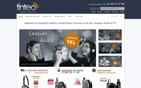 Screenshot of Home Page tinteo.com - Amplificateur d'Ecoute | Casques Audio | Casque TV | Assistant Auditif | TINTEO - captured July 11, 2014