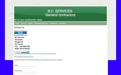 Screenshot of Contact Page webs.com - Contact Us - B.C. SERVICES  General contractors - captured Sept. 13, 2014
