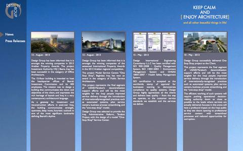 Screenshot of Press Page designiec.com - Design Group. ARCHITECTURE - SUSTAINABILITY--URBAN DESIGN & MASTER PLANNING - LANDSCAP ARCHITECTURE- INTERIOR DESIGN - PROJECT MANAGEMENT. - captured Oct. 1, 2014