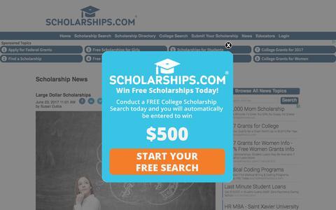 Screenshot of Press Page scholarships.com - College Scholarship & Education News - Scholarship Search, Find Scholarships & Pay for College - Scholarships.com - captured June 23, 2017