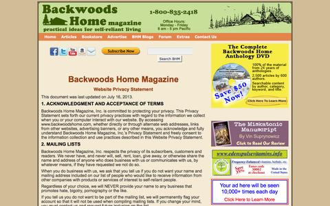 Screenshot of Privacy Page backwoodshome.com - Privacy Policy | Backwoods Home Magazine - captured Feb. 21, 2016