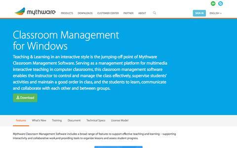 Screenshot of Products Page mythware.com - Windows Classroom Management Software - Mythware - captured Sept. 21, 2015