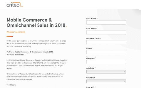 Screenshot of Landing Page criteo.com - Mobile Commerce and Omnichannel Sales in 2018 - captured May 15, 2018