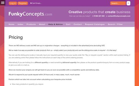 Screenshot of Pricing Page funkyconcepts.com - Pricing - FunkyConcepts.com - captured Oct. 14, 2017
