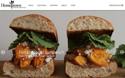 Screenshot of Home Page eathomegrown.com - Homegrown Sustainable Sandwich Shop - captured Oct. 3, 2014