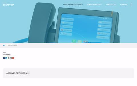 Screenshot of Testimonials Page legacysip.com - Testimonials - Legacy SIP - captured July 17, 2018