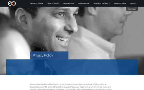 Screenshot of Privacy Page editasmedicine.com - » Privacy Policy - captured May 29, 2019