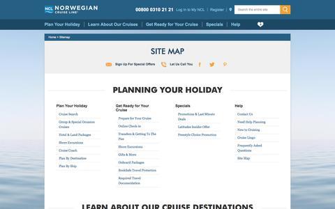 Screenshot of Site Map Page ncl.com - Site Map   Norwegian Cruise Deals & Cruise Destinations   Norwegian Cruise Line - captured June 29, 2017