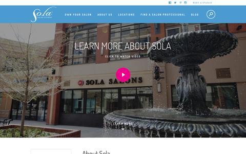 Screenshot of About Page solasalonstudios.com - About Us - Sola Salon Studios - captured Jan. 15, 2016
