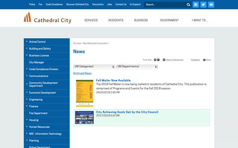 Screenshot of Press Page cathedralcity.gov - News   Cathedral City - captured Sept. 28, 2018