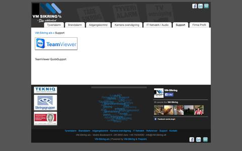 Screenshot of Support Page vm-sikring.dk - Support | VM-Sikring a/s - captured Oct. 7, 2014