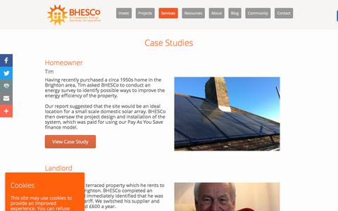 Screenshot of Case Studies Page bhesco.co.uk - Energy Saving Case Studies │ Brighton & Hove Energy Services Co-op - captured Oct. 11, 2017
