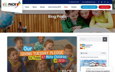 Screenshot of Blog Press Page kidspack.org - Blog / News   kidsPACK, Inc - Hope And Charity For Children - captured Dec. 10, 2018