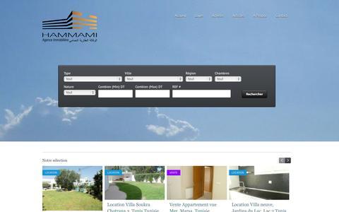 Screenshot of Home Page agenceimmobilierehammami.com - Agence imobiliere Hammami, immobilier de luxe et haut standing Tunisie - captured Sept. 30, 2014