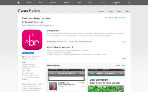 Screenshot of iOS App Page apple.com - Bamboo Rose Inspired on the App Store on iTunes - captured Oct. 23, 2014