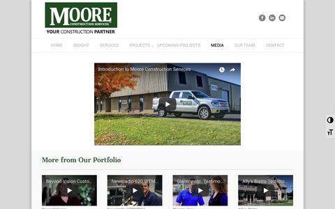 Screenshot of Press Page moore-cs.com - Moore Construction Services   MEDIA - captured Oct. 23, 2017