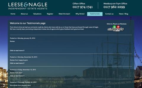 Screenshot of Testimonials Page leeseandnagle.co.uk - Customer Reviews   Leese & Nagle - captured Jan. 27, 2016