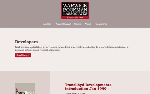 Screenshot of Developers Page warwickbookman.com - Looking for sites or needing a development appraisal? Warwick Bookman & Associates - captured Dec. 17, 2016
