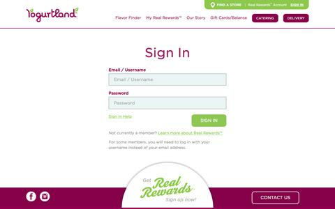 Screenshot of Login Page yogurt-land.com - Yogurtland: Real Rewards | Sign In - captured Nov. 30, 2019