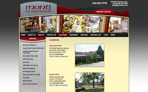 Screenshot of Locations Page monti-inc.com - Monti Incorporated, Sumter SC, Greenwood SC, Riverview MI, Cincinnati Ohio - captured Oct. 7, 2014
