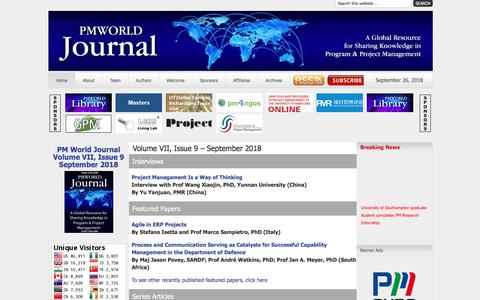Screenshot of Home Page pmworldjournal.net - Volume VII, Issue 9 – September 2018 - Project Management World Journal - captured Sept. 26, 2018