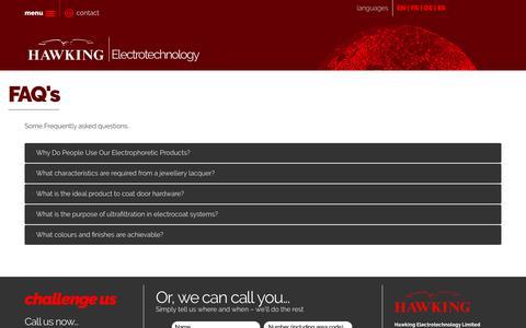 Screenshot of FAQ Page hawking.co.uk - FAQ's - captured Sept. 27, 2018