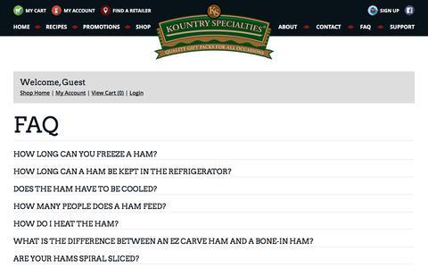 Screenshot of FAQ Page kountryspecialties.com - FAQ | Kountry Specialties | High Quality Meats - captured Sept. 20, 2018