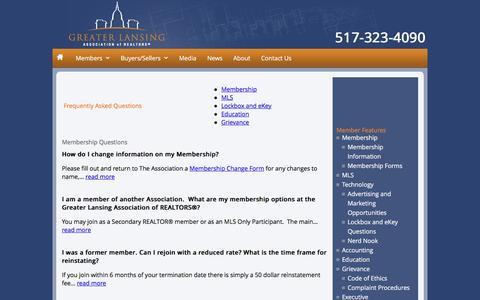 Screenshot of FAQ Page glaronline.com - Greater Lansing Association of Realtors (GLAR) - captured Nov. 14, 2016