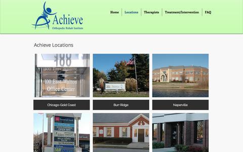 Screenshot of Locations Page achieveortho.com - Achieve Orthopedic Rehabilitation Institute   Locations - captured Oct. 7, 2017