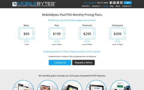 Screenshot of Pricing Page mobilebytes.com - Pricing | MobileBytes | iPad POS for Restaurants - captured Jan. 12, 2016