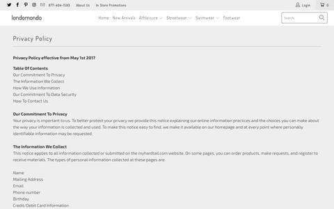 Screenshot of Privacy Page londomondo.com - Privacy Policy - londomondo - captured July 23, 2018