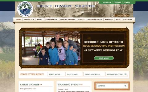 Screenshot of Home Page unionsportsmen.org - Union Sportsmen's Alliance - OFFICIAL SITE - captured Oct. 6, 2014