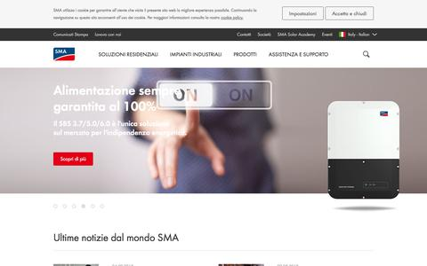 Screenshot of Home Page sma-italia.com - SMA Solar Technology AG - Inverter & Soluzioni fotovoltaiche - captured Sept. 13, 2018
