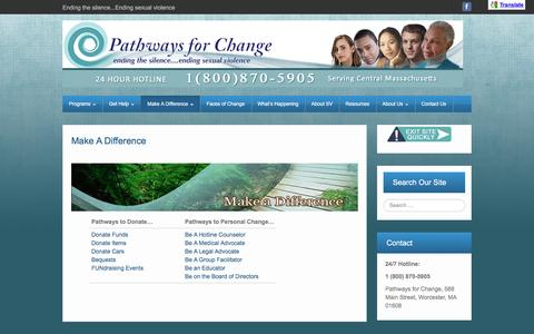 Screenshot of Support Page centralmasspfc.org - Pathways For Change | Make A Difference - captured Oct. 26, 2016