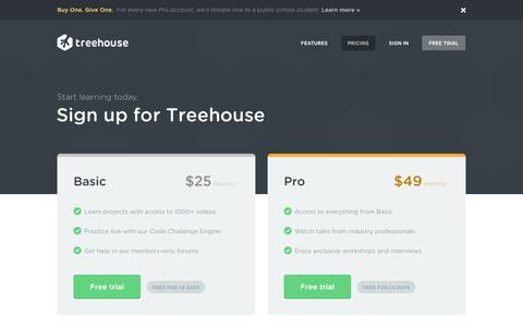 Screenshot of Trial Page Pricing Page teamtreehouse.com - Plans & Sign Up | Treehouse - captured Oct. 22, 2014