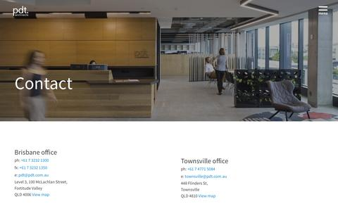 Screenshot of Contact Page pdt.com.au - Contact  -  PDT Architects - captured Jan. 26, 2016