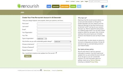 Screenshot of Signup Page re-nourish.com - Re-nourish | Design Sustainably - captured Oct. 7, 2014
