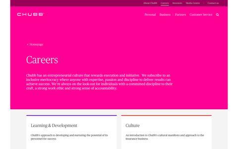 Screenshot of Jobs Page chubb.com - Careers at Chubb, Australia - captured April 21, 2017