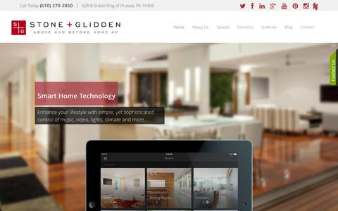 Screenshot of Home Page stoneglidden.com - Stone + Glidden  - Home & Commercial Automation - King of Prussia, PA  (610) 270-2850 - captured Aug. 15, 2015