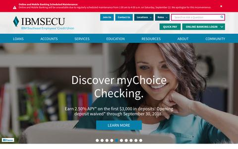 Screenshot of Home Page ibmsecu.org - IBMSECU | Florida Credit Union | Georgia Credit Union - captured Sept. 22, 2018