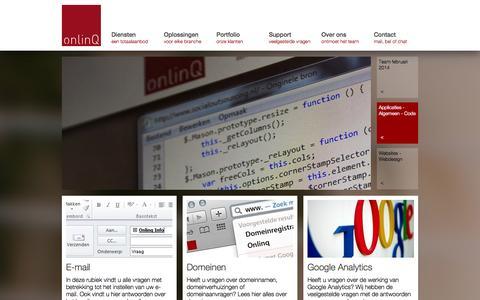 Screenshot of FAQ Page onlinq.nl - Onlinq Son en Breugel | Webdesign, app ontwikkeling, internetmarketing, servers - captured Oct. 26, 2014