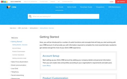 Getting Started | Online Help - Zoho CRM