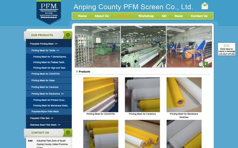 Screenshot of Products Page polyesterwiremesh.com - polyester screen printing mesh | silk screen printing mesh - Anping County PFM Screen Co., Ltd. - captured Nov. 12, 2018