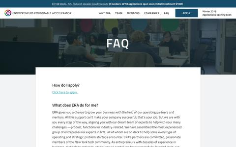 Screenshot of FAQ Page eranyc.com - FAQ - Entrepreneurs Roundtable Accelerator - captured June 26, 2017