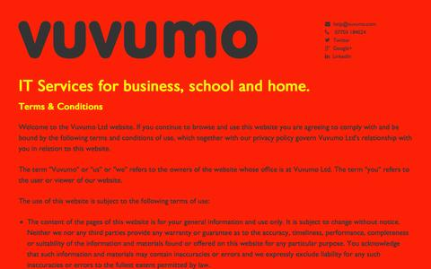 Screenshot of Terms Page vuvumo.com - Vuvumo - IT Services for business, school and home - captured Oct. 1, 2014