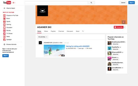 Screenshot of YouTube Page youtube.com - AGAINER SKI  - YouTube - captured Oct. 23, 2014