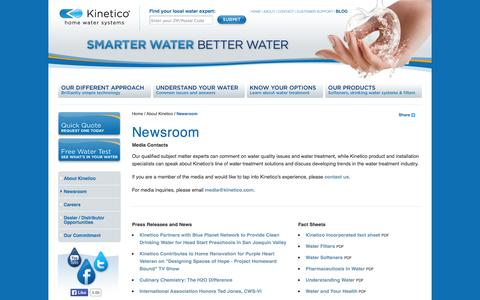 Screenshot of Press Page kinetico.com - Kinetico Newsroom | Press Releases, News, and Media Contacts - captured Sept. 25, 2014